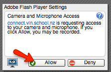 Adobe Connect camera and microphone access