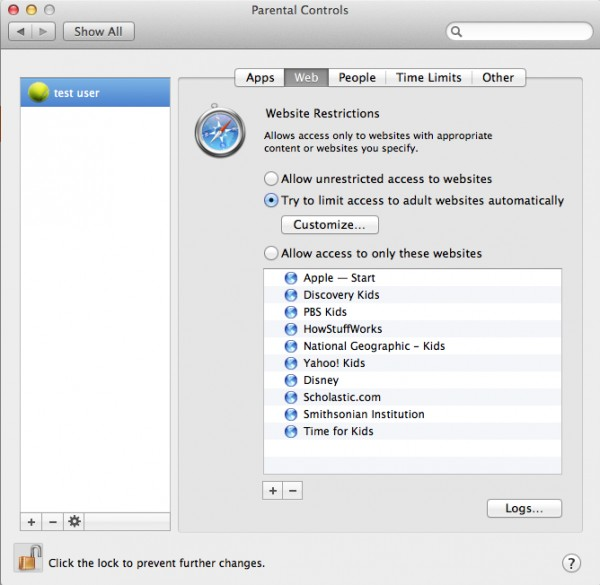 Screenshot of Parental controls Mac
