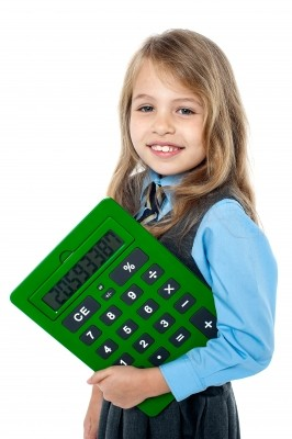 Child with large calculator