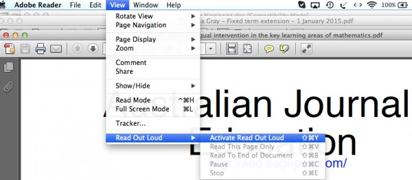Read aloud options in PDF reader