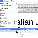 Read aloud options in PDF reader