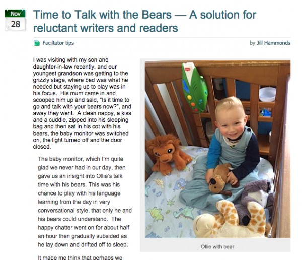 Time to talk with the bears - a solution for reluctant writers