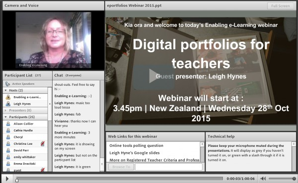 Digital portfolios webinar screenshot