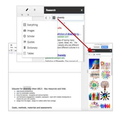 Research toolbar Gdoc and Gslides