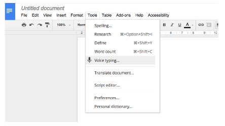 Voice typing GDoc tool