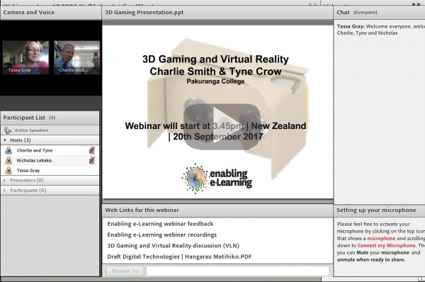 Screenshot of 3D Gaming and Virtual Reality webinar