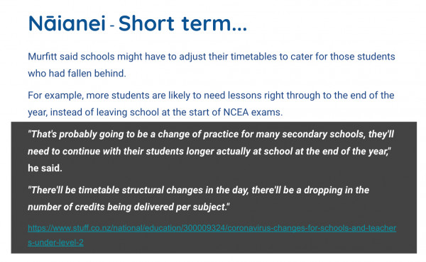 Supporting secondary learners short term