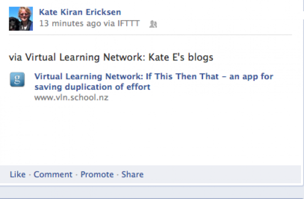 Facebook capture of a post uploaded by IFTT
