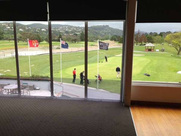 Watching the golfers get blown away in the wind at Boulcott Farm and gold club