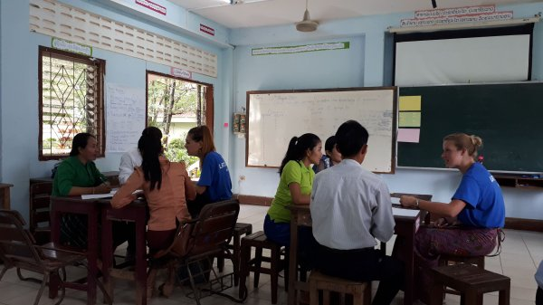 Fellows work with groups of Laos teachers to deliver a session on teaching for learning