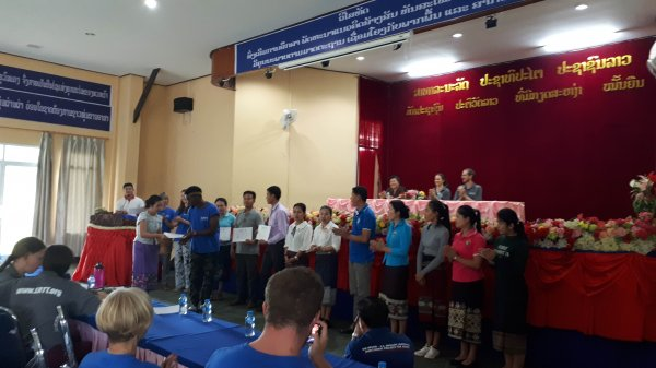 Closing ceremony at the Ban Keun Teacher Training College at the end of our week spent delivering workshops there.