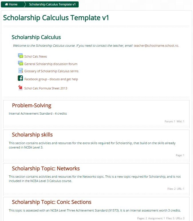 Moodle course templates : Virtual Learning Network